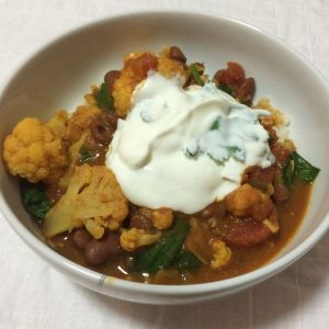 Curried Red Kidney Beans and Cauliflower and Spinach