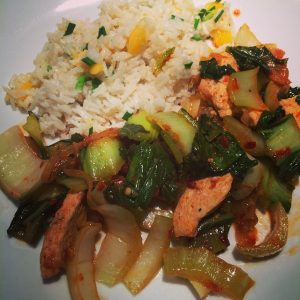 Chili Garlic Chicken and Bok Choy with Coconut Mango Rice