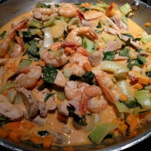 Red Curry Coconut Shrimp and Chicken