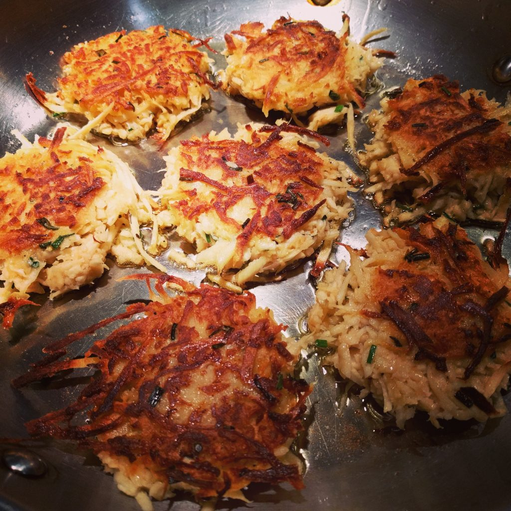 maple chive parsnip cakes