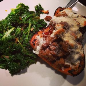 Sausage stuffed butternut with kale