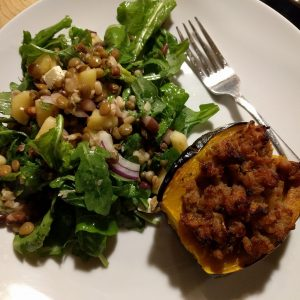 Arugula salad with sprouted beans and lentils